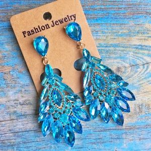Turquoise Crystal Occasion Chandelier Earrings
